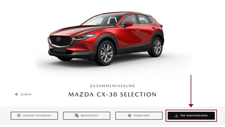 Mazda Konfigurator Schritt 2 - PDF-Datei herunterladen